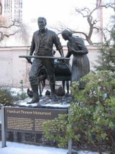 Handcart Pioneer statue The Handcart Pioneer Monument Handcart Pioneer at Salt Lake Temple Square