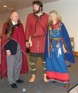 Gathering in Viking Age garb at the recent Nordic Spirit Symposium at Cal Lutheran University in Thousand Oaks, Calif. From Left: Howard Rockstad, symposium founder and director, Terje Andreassen and Marit Vea of the Avaldsnes Project. Photo: Judith Gabriel Vinje