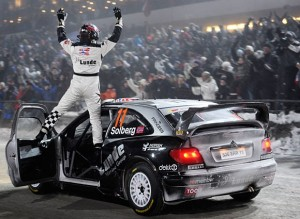 Petter celebrated first stage. Photo: Rallynorway.com