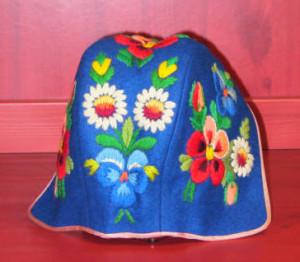 Hand embroidered child's cap. Photo courtesy of Vesterheim Norwegian-American Museum.