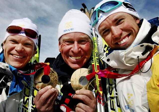 Bråten together with Olympic-winners Björn Lind (right) og Thobias Fredriksson. FOTO: TROND TANDBERG