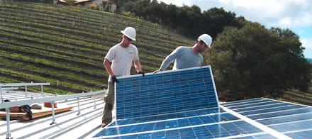 Technicians from REC Solar install a ground-mounted array to serve the vineyard at Alban Winery, Arroyo Grande, CA. Photo: Winesandvines.com.