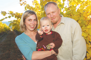 Gård Vintners managing partner Josh Lawrence, with wife Lisa and daughter Addison