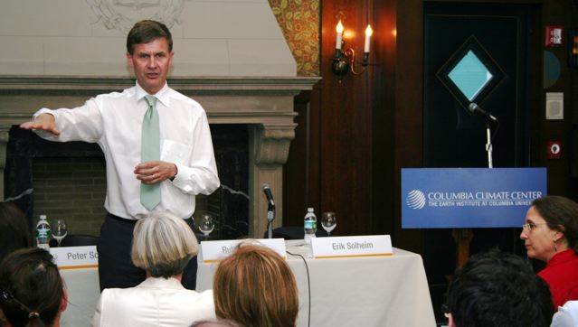 Solheim talks about REDD at Colombia in NYC in May 2009. Photo by Berit Hessen.
