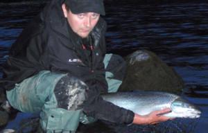 Morten Bergan returning a 5-kg sea trout to the river.(Photo: Morten Bergan/NIVA)