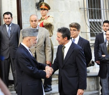 Afghan President Hamid Karzai welcomes NATO Secretary General, Anders Fogh Rasmussen at the presidential palace. Photo: NATO