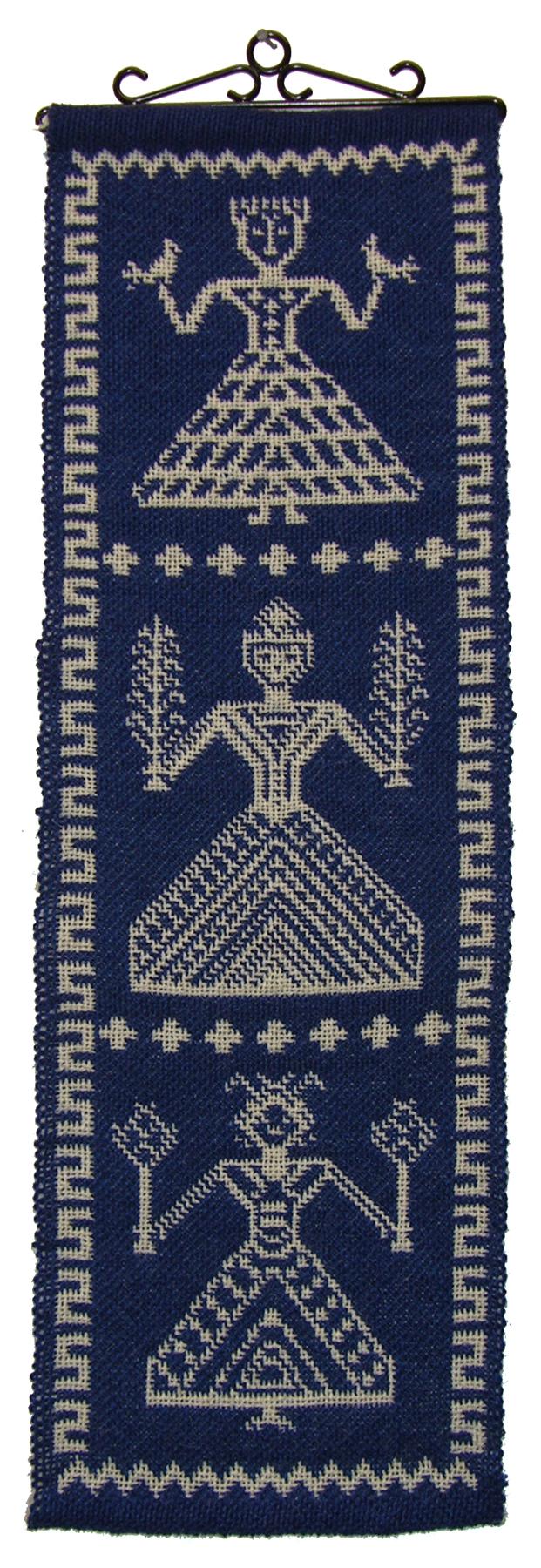 "Betty Rikansrud Nelson, Decorah, Iowa, ""Norse Goddesses"" wall hanging in double weave pickup, wool on wool, 2009."