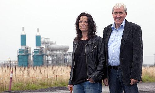 """We hit the jackpot"" ... Merete Mikkelsen, business association head, with mayor Bernhard Riksfjord. Photograph: Einar Engdal"