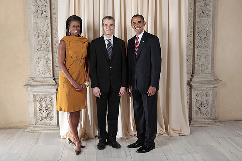 President Barack Obama and First Lady Michelle Obama pose for a photo during a reception at the Metropolitan Museum in New York with, H.E. Jonas Gahr Store Minister of Foreign Affairs of Norway, Wednesday, Sept. 23, 2009. (Official White House Photo by Lawrence Jackson)  This official White House photograph is being made available only for publication by news organizations and/or for personal use printing by the subject(s) of the photograph. The photograph may not be manipulated in any way and may not be used in commercial or political materials, advertisements, emails, products, or promotions that in any way suggests approval or endorsement of the President, the First Family, or the White House.a