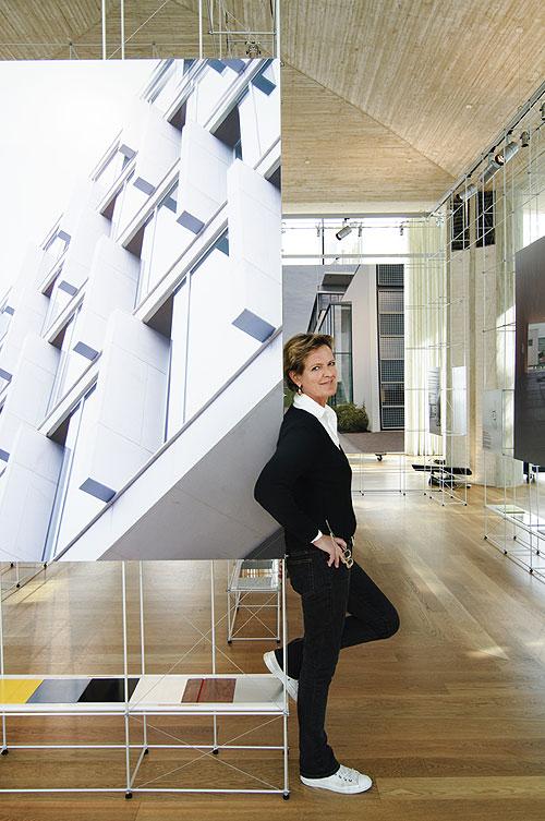 "Kristin Jarmund with her exhibition ""Kristin Jarmund Selected Works"" Photo courtesy of Kristin Jarmund"