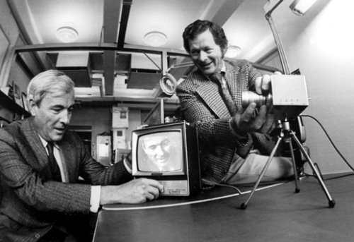 Bell Labs researchers Willard Boyle (left) and George Smith (right) with the charge-coupled device, which transforms patterns of light into useful digital information and is the basis for many forms of imaging, including camcorders and satellite surveillance. Photo taken in 1974. Photo: Alcatel-Lucent/Bell Labs