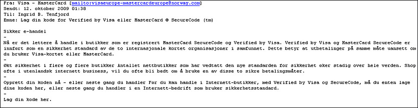 Email sent from the fraudulent Norway.com account.