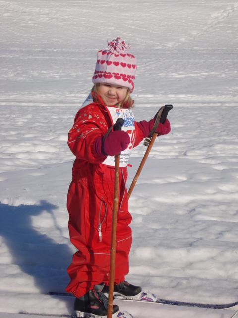 Julia Schwarz enjoys Barneløpet, a children's cross country ski/walk event in Decorah.
