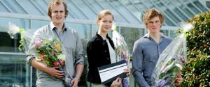 National winners were Severin Bøyesen Sjømark (left), Synne Mari Pedersen and Harald Gard Halvorssønn Kjørholt. (Photo: Helge Hansen)