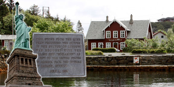 There has been a rumor at Karmøy in Norway that the copper in the Statue of Liberty – 80 tons of it – came from the Visnes mine on this island, located on the West coast of Norway. Photos courtesy of Steinar Hybertsen