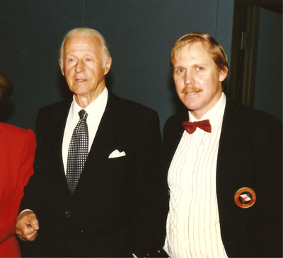 Norwegian explorer Thor Heyerdahl (left) was honored by Pacific Lutheran University in Tacoma, Wash., in 1996. During that event, he was introduced during the ceremony by colleague Dr. Donald Ryan of PLU. This year Dr. Ryan will give a presentation about Heyerdahl on Feb. 11 as part of the Nordic Spirit Symposium at California Lutheran University. Photo: Richard Londgren