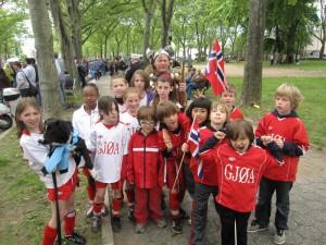Members of Sporting Club Gjøa at the 2009 Norwegian 17th of May Parade. Photo: Sporting Club Gjøa