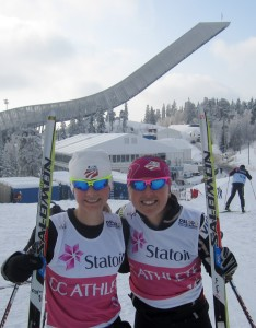 Jessie Diggins (MN) and Holly Brooks (AK) in front of Holmenkollen ski-jump at the 2011 World Cup (photo courtesy of Holly Brooks).