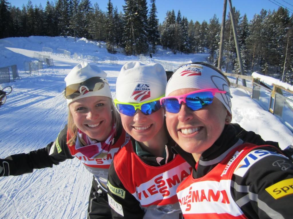 """Sadie Bjornsen, Jessie Diggins and Holly Brooks in """"Nordmarka"""" (Photo HB)"""