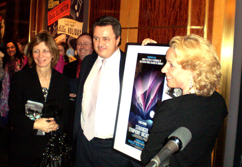 His wife Jannet is to his right at the 'After Theatre Party' held at Carnegie Hall. Photo by Bill Osmundsen