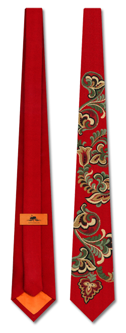 The East-Telemark Red tie.  The tie is made with the same high quality wool used in the red waistline of the national costume from East Telemark and both the fabric and the wool of the embroidery is of 100% pure Norwegian wool.