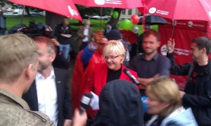 Kristin Halvorsen during SV's 2011 campaign. Photo: Katrine Gramnæs