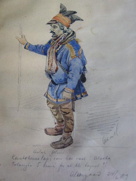Albert von Hanno drew Somby in Alta in 1909 at Alta Farm. Photo: NRK.