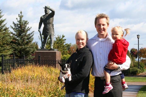 The Saur family with (who else?) Leif Erikson in the background.