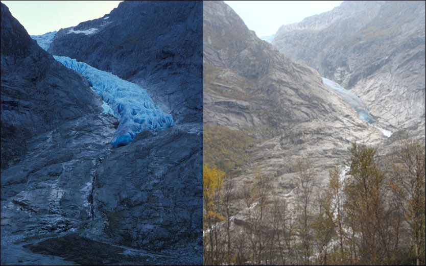 Bondhus Glacier has had a dramatic decline from 1990 (left) to 2011 (right) Photo: NVE