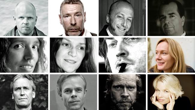 The 12 authors who are up for the prize: Gunstein Bakke, Tomas Espedal, Levi Henriksen, Jan Kjærstad, Cathrine Knudsen, Merethe Lindstrøm, Øystein Wingaard Wolf, Marit Eikemo, Ragnar Hovland, Tore Renberg, Stig Sæterbakken og Linn Ullmann.