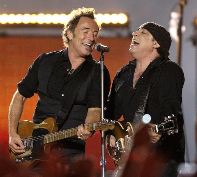 Springsteen (left) and Steven Van Zandt performing at Super Bowl XLIII.