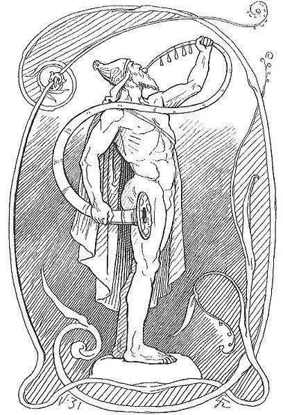 Photo: Wikimedia Heimdallr with Gjallarhorn. Artwork by Lorenz Frølich. Published in Gjellerup's Edda in 1895.