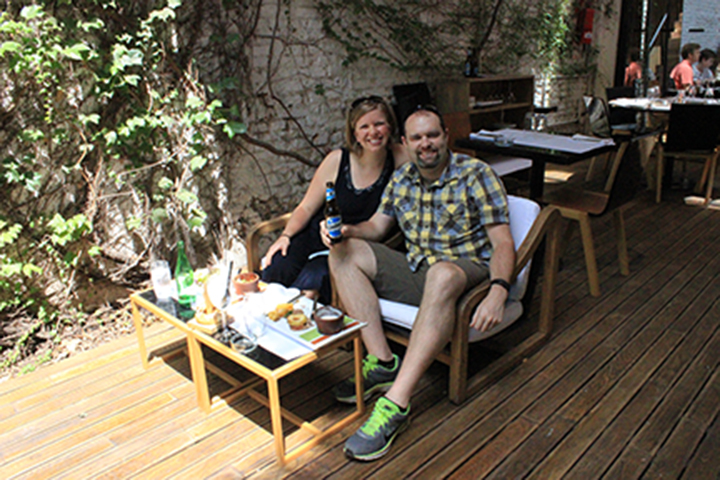 Christy and Carl enjoy the sunshine and free wi-fi at Olsen restaurant in Buenos Aires.