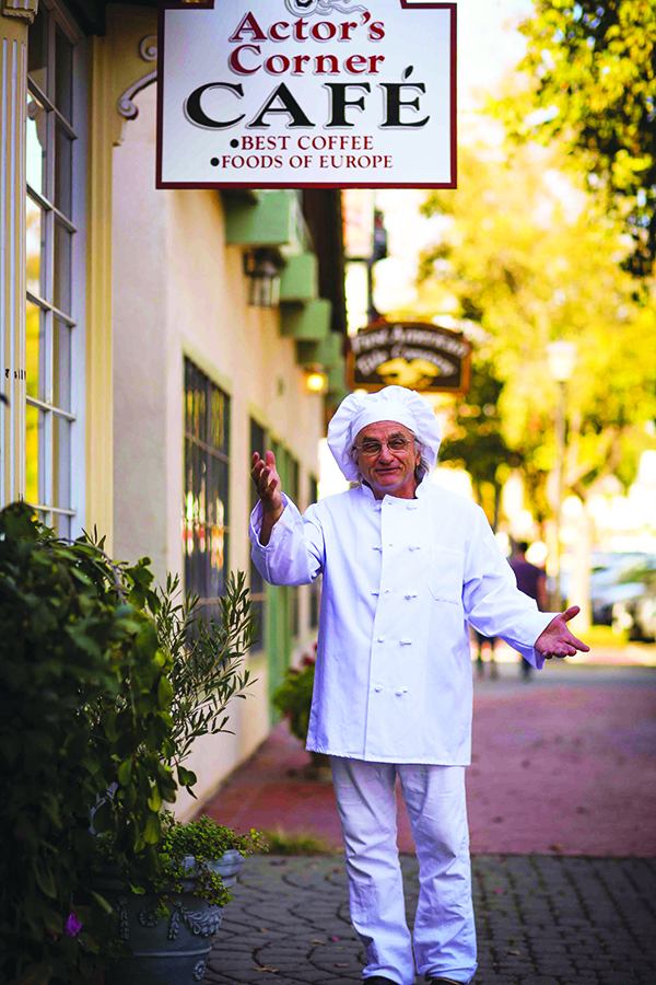 """Photo: courtesy of Actor's Corner Café Chef  Santo Cervello welcomes diners to the Actor's Corner Café in Solvang, Calif., the """"Danish Capitol of America. He and wife Grace Lebecka own the restaurant and have noticed an uptick in both the usage of smartphones at tables and the reliance on online review sites like Yelp. They're careful to maintain the high standards that give them a 5-star rating."""