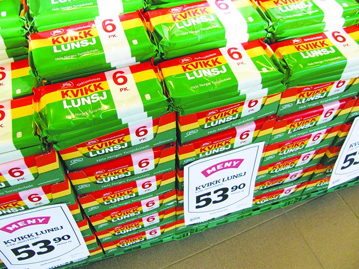 Photo: Heidi Håvan Grosch Boxes of Kvikk Lunsj on display in the grocery stores are a sure herald of Spring.