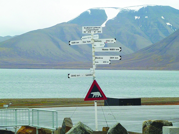 Photo: Darin Lietz Just outside Svalbard lufthavn, this sign lets you know where you and the polar bears are in relation to the rest of the world. Hint: far from everywhere!