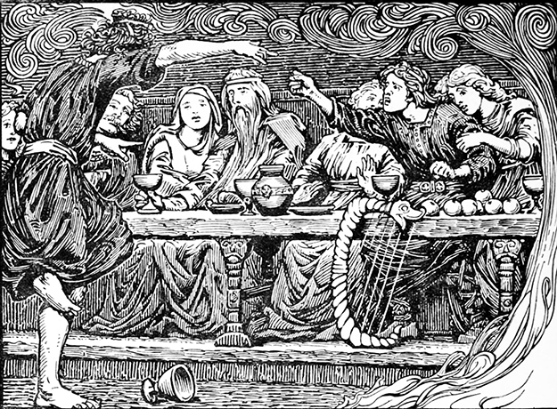 "Photo: Wikimedia Commons ""Loki taunts Bragi"" (1908) by W. G. Collingwood, used as an illustration to Lokasenna in Olive Bray's English translation of the Poetic Edda. This sort of behavior does lend credibility to the idea that Loki makes a lousy dinner guest, but in my opinion it's a big stretch from there to ""any 13th guest means someone will die in the next year,"" and an even bigger leap from there to demonizing an entire number."