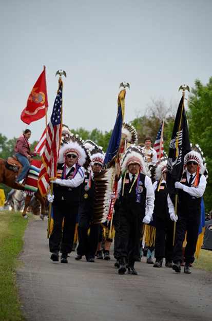Photo: Robert Leitner An American Legion Honor Guard from New Town, MHA Nation.