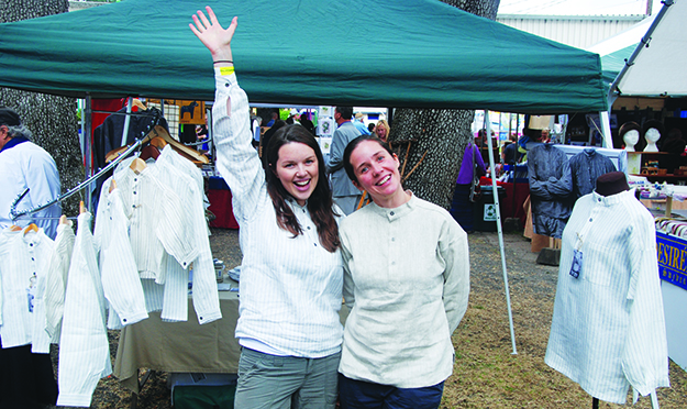 Photo courtesy of Hovden Formal Farm Wear  Ingvill and partner Zurine model their shirts.