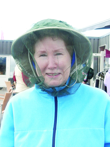 Photo: Shelby Gilje Chris Eisinger models mosquito netting, the hot fashion statement for summer.