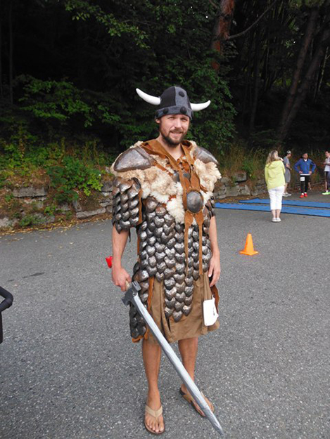 Photo courtesy Nordic Heritage Museum Maxwell Perry walked the race in sandals, a horned helmet, and 35 pounds of metal armor. His wasn't the quickest time, but he took home the award for best costume.