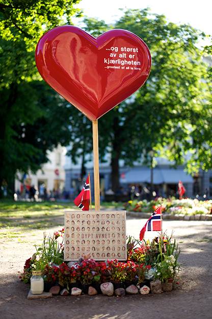 Photo: Jon Callas / Wikimedia Commons Memorial at the Oslo Cathedral for the murders at the AUF camp on 22 July, 2011.