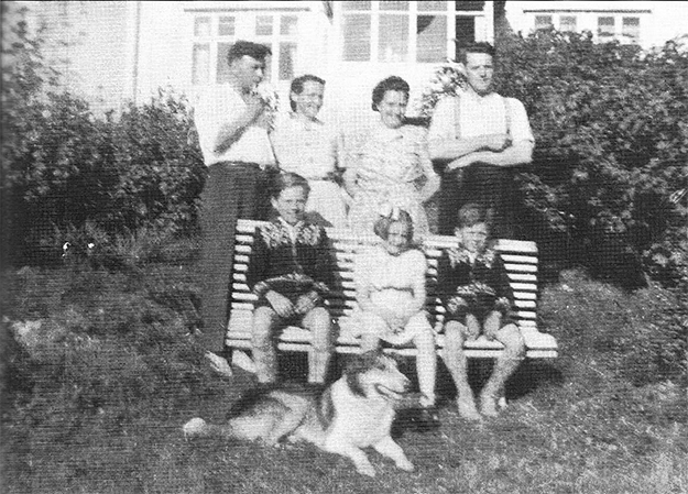 Photo courtesy of Jon Lind Taken in 1947, this picture shows Kasper (back, right) next to his wife Jenny with their daughter Åse, seated in front. Åse and I went to school together and she has, over the years, become one of my dearest friends. She still lives in the house her father built. Back, left is Mikkal Solheim, whose adventures with the Germans will be described in the next installment.