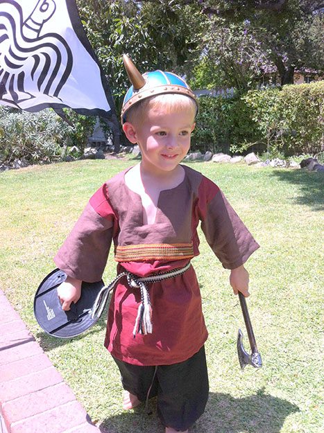 Photo: Judith Gabriel Vinje Kids like Wyatt Childs love to play Viking dress-up, of course complete with horned helmets. Wyatt, here two years old, is dressing up for his role at the Edvard Grieg Lodge Midsummer Viking Fest.