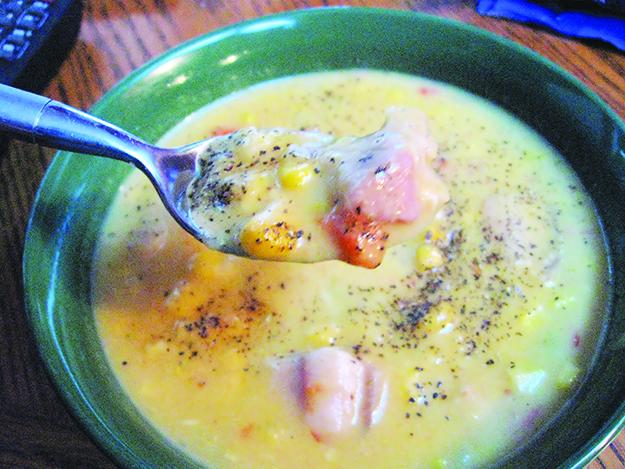 Photo: Rootology / Wikimedia Commons Potato, corn, and salmon chowder.