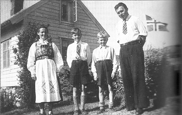 Photo courtesy of Jon Lind Mikkal and his family photographed in 1947. Emma died at the age of 49 of a heart condition. Kåre, the youngest, died of the same inherited condition at the age of 35, leaving a young family behind. Ragnar (next to his mother) became a professor at the University of Bergen. We would always have spirited discussions during my trips back to Norway. He died of a heart attack the day before I arrived in Norway in 1994. He was 60 years old.