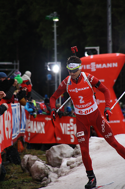 Photo: Wikijunkie / Wikimedia Commons Bjørndalen skiing in the 2014 World Cup.