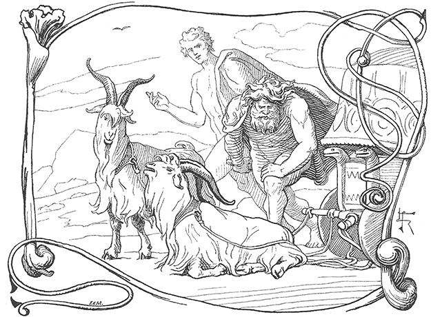 Photo: Lorenz Frølich  Thor discovers that one of his goats is lame in the leg while Týr watches on.