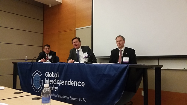 Photo: Michael Kleiner Panel on the government view, left to right: moderator R. Anthony Salgado, Partner, Blank Rome Law Firm, which represents Aker Shipping AS; Jukka Pietikäinen, Consul General of Finland in New York; and Leif Trana, Minister Counsellor for Economic Affairs, Royal Embassy of Norway in Washington. Jarl Frijs-Maden, Consul General of Denmark in New York, was unable to attend.