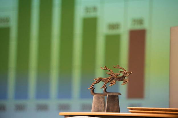 Photo courtesy of Dagens Næringsliv  Gazelle trophies from the 2013 awards.